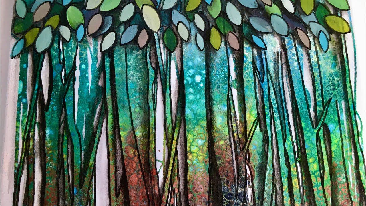 Dishsoap Acrylic pour 3D Forest painting tutorial