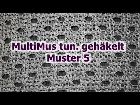MultiMus tunesisch gehäkelt - Muster 5 - Veronika Hug - YouTube