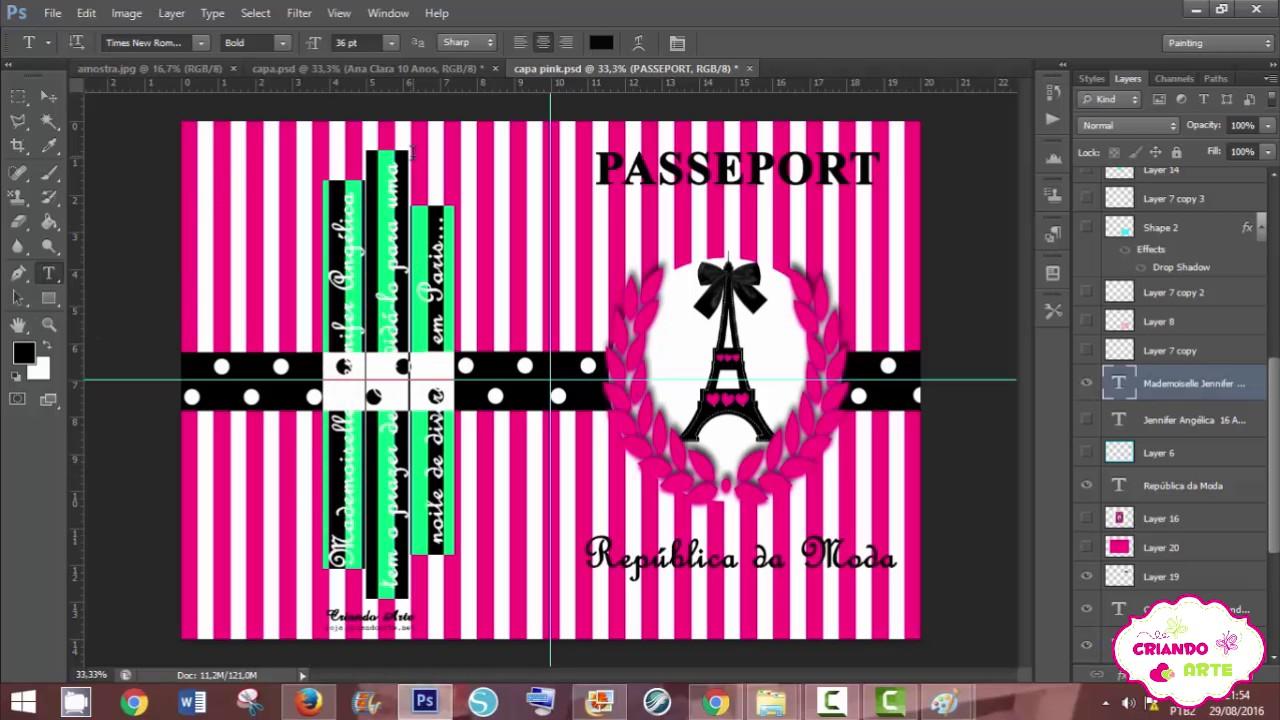 Como Fazer Convite Passaporte Paris No Photoshop 3 Youtube