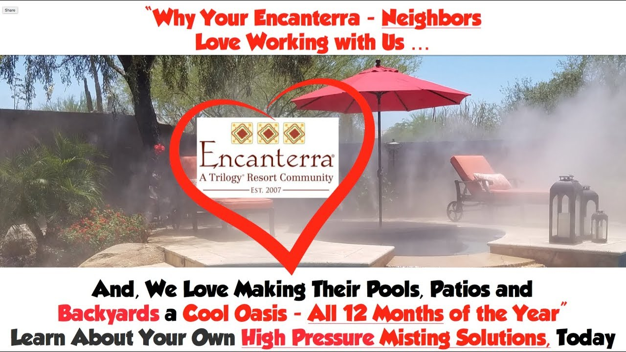 High Pressure Misting Systems Encanterra Arizona and San Tan Valley