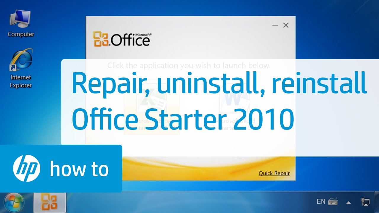 Repairing, Uninstalling, and Reinstalling Office Starter 2010 | HP  Computers | HP