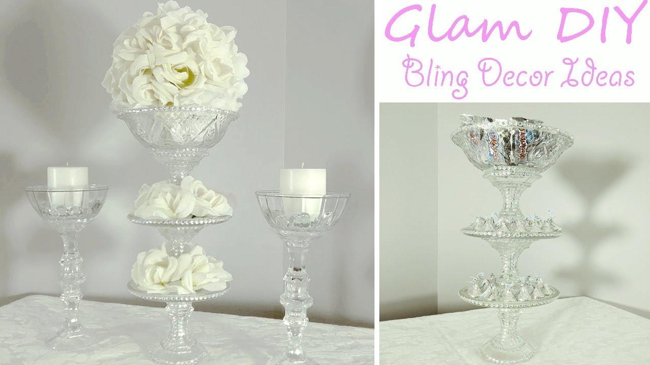 Dollar Tree DIY Glam Bling Wedding Centerpiece 3 Tier Candy Tray  YouTube