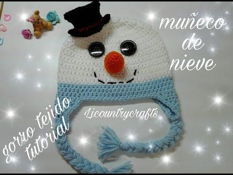 Gorro tejido muñeco de nieve   / Snowman crochet hat