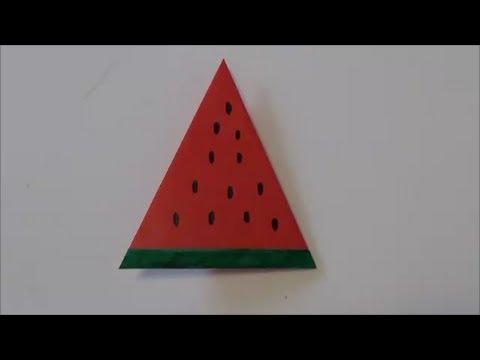 ハート 折り紙:すいか 折り紙-youtube.com