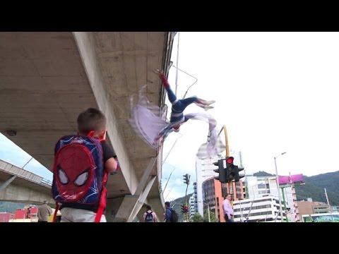 'Spiderman' flies over Bogota in acrobatic show