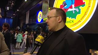 ОНТ берет интервью у Павла Баранова на открытом чемпионате Беларуси по самбо