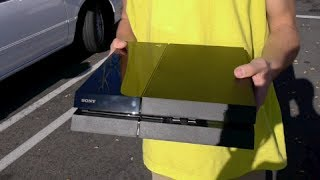 Smashing a Brand New Playstation 4 Outside Gamestop(Using a baseball bat and a truck, we attempt to smash the new Playstation 4 console. FACEBOOK: ..., 2013-11-16T00:39:23.000Z)