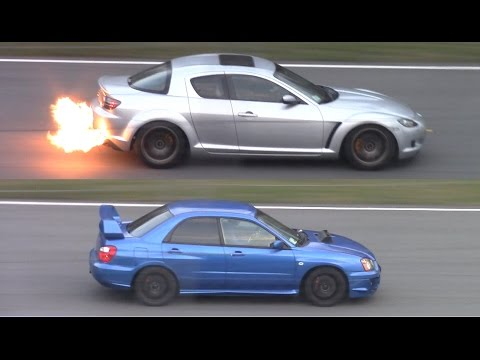 SCREAMING Subaru Impreza STI vs FLAMING Mazda RX-8 - Japan Day Monza 2015!