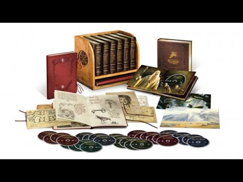 Hobbit / Lord of the Rings Deluxe Collectors Set Blu Ray Leather Books / Shelf 30 Disc