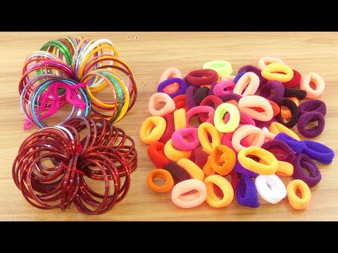 Hair rubber bands & Old bangles crafts for beautiful home deco   DIY art and craft   DIY HOME DECO