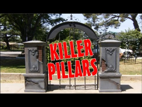 Halloween fence entrance columns gate brick pillars for How to build a house on pillars