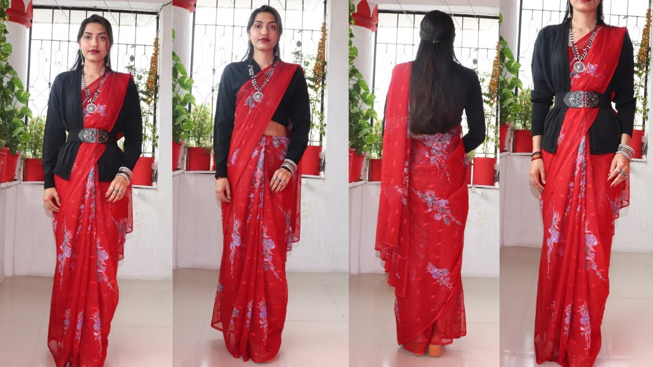 How to wear a Saree in Winters with Sweater  Winter saree series (2)