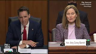 Sen. josh hawley, r-mo., questioned judge amy coney barrett on oct. 14, the third day of senate judiciary committee's supreme court confirmation hearing....