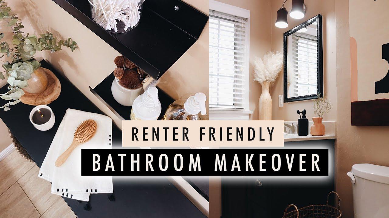 BATHROOM MAKEOVER + DIY Home Decor (Renter Friendly)  | XO, MaCenna