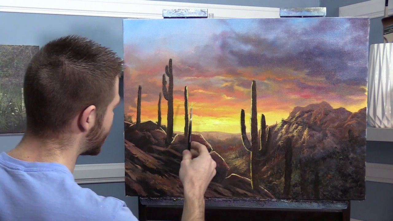 Rocky Desert Sunset Paint With Kevin 174 Youtube