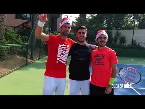 Novak Djokovic Singing with Santa's cap FUNNY - Dubai 2017 (HD)