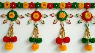 Easy Door Hanging Toran | Diwali Home Decor Idea Out Of Waste Match sticks, Bangle and Wool