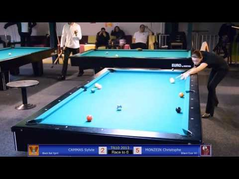 Sylvie CAMMAS vs Christophe MONZEIN - TN10 Tournoi National Billard 2013 - Jeu de la 10 à Toulouse