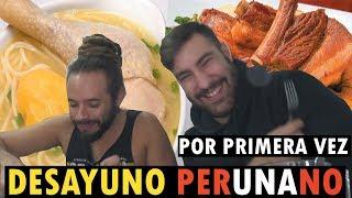 PRUEBO EL DESAYUNO PERUANO🇵🇪 POR PRIMERA VEZ!! (acabo muy lleno)