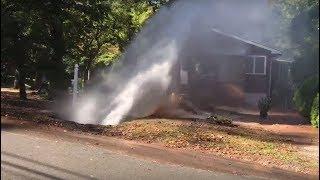 Broken watermain causes giant geyser