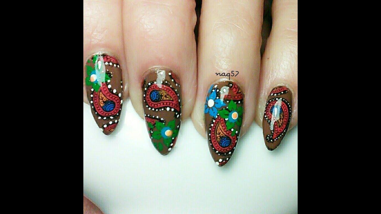 Advanced Nail Art: Paisley Nail Art Design Using Advanced Stamping.