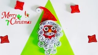 paper quilling: How to make Santa figure with quilling strips for cristmas