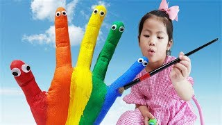 엄마는 그림을 너무 못그려요!! 서은이의 물감놀이 핑거송 무지개 색깔 영어 공부 Rainbow Finger Song