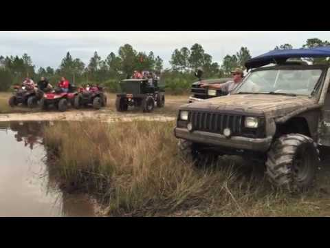 4x4 Hummer sinks in mud hole at River Ranch in Central Florida
