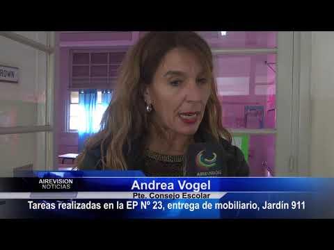 Andrea Vogel   Tareas en la EP Nº 23 Entrega de mobiliario Jardín 911