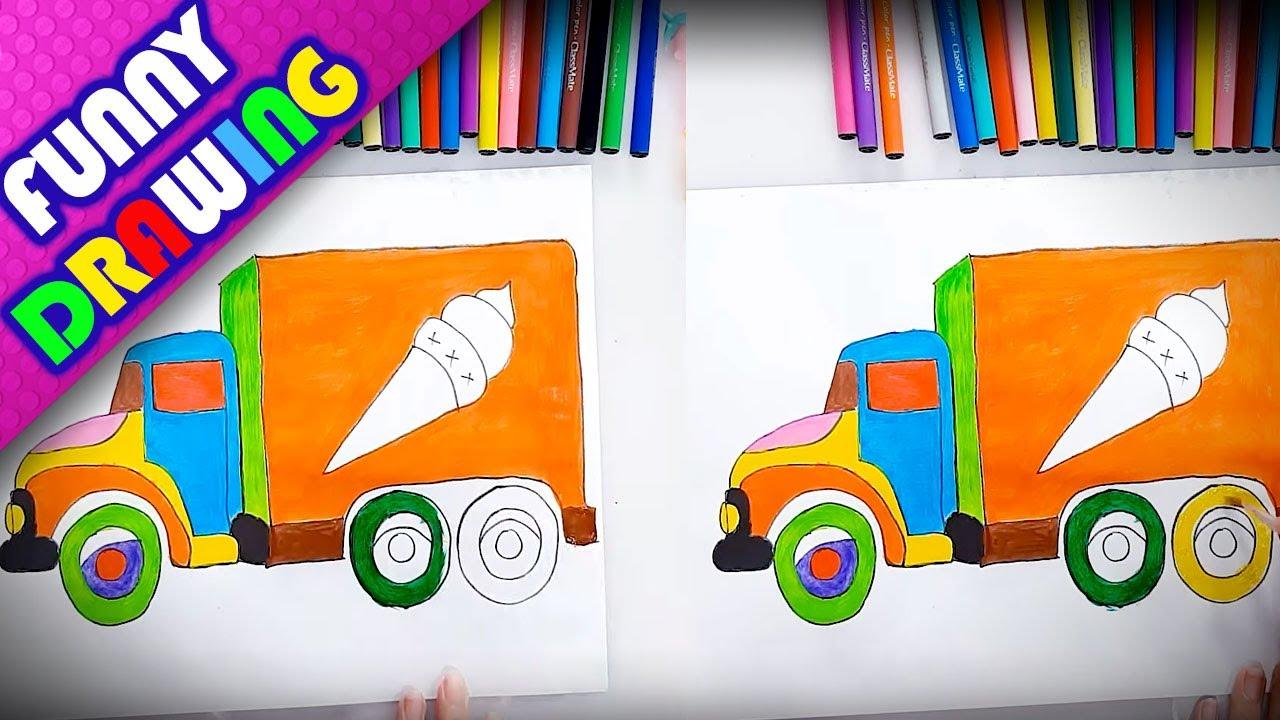 DIY - How to draw Ice cream truck easy - Dạy bé vẽ và tô màu xe kem