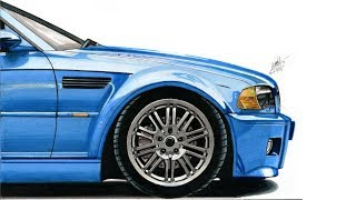 Realistic Car Drawing - BMW E46 M3 - Time Lapse
