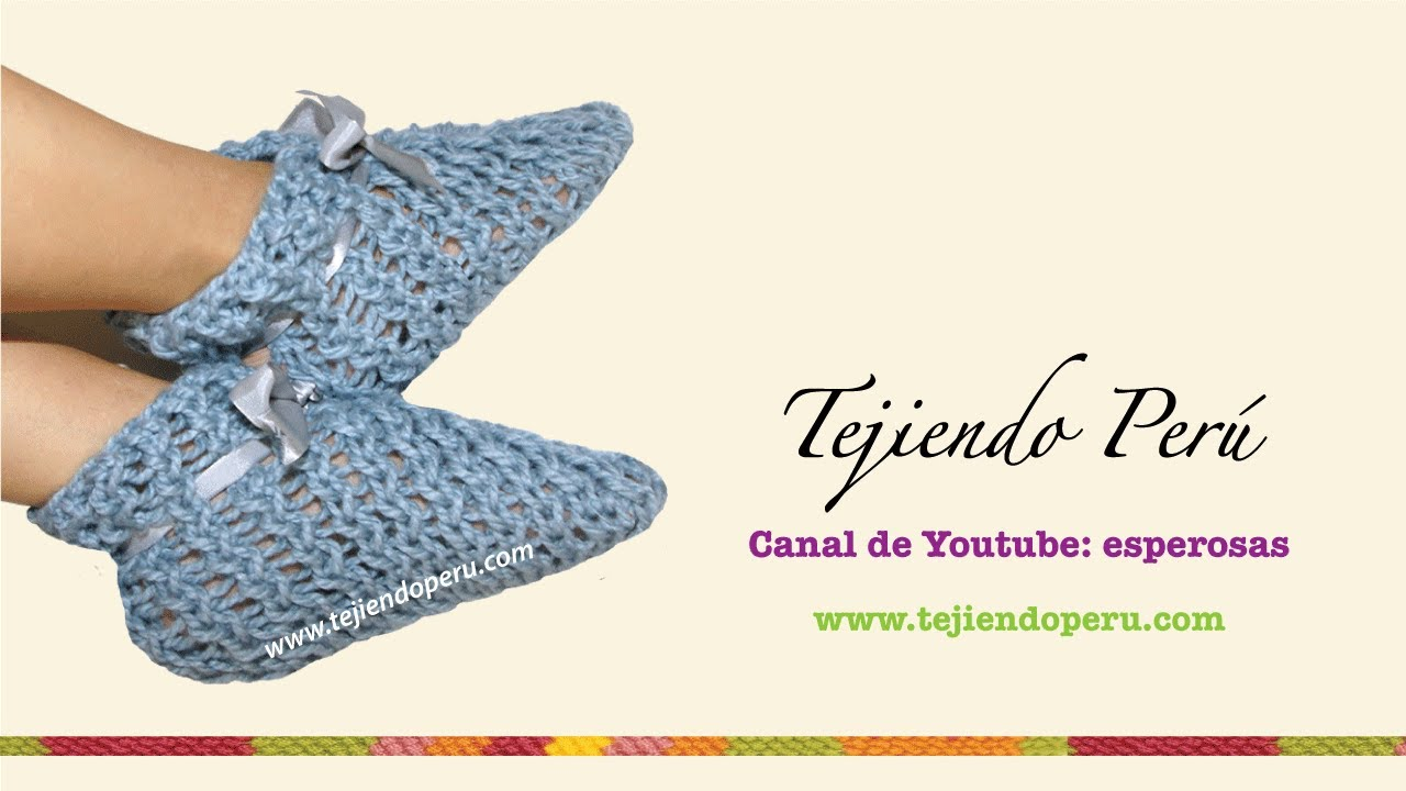 Pantuflas tejidas en telar rectangular - YouTube