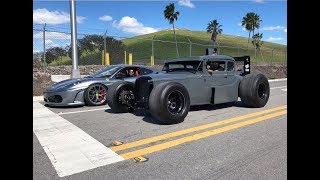 Ferrari VS Rat Rod -  Warning: LOUD EXHAUST!!!