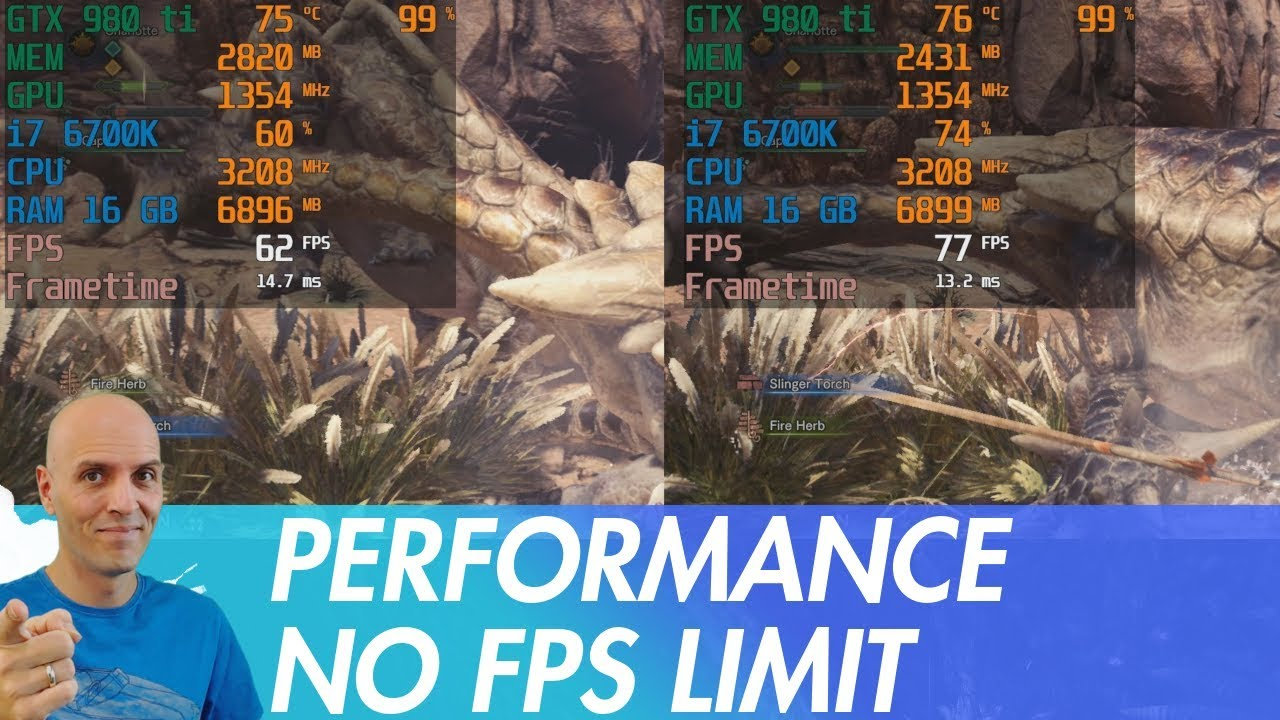 MONSTER HUNTER WORLD PC Performance Test NO FPS Limit / low, mid, high,  highest, no fps lock