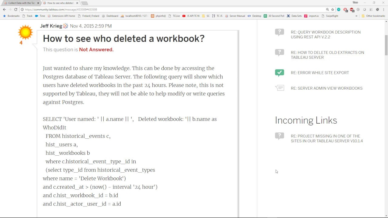 Tableau Server - How to see who deleted a workbook?