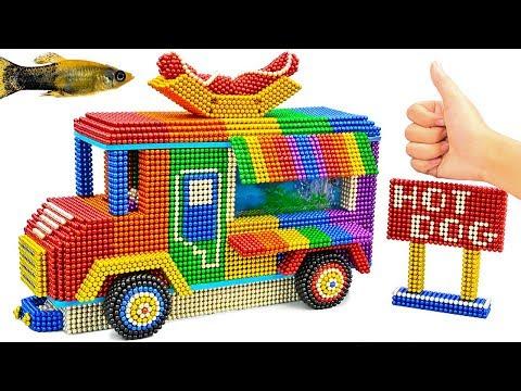 DIY - Build Hot Dog Shop Truck Aquarium With Magnetic Balls (Satisfying) - Magnet Balls