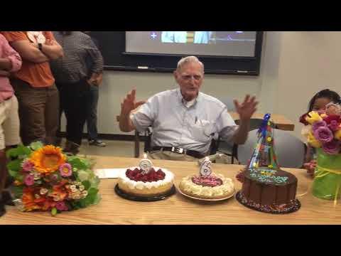 Prof.John B Goodenough was singing Happy Birthday Song  at his 96th birthday party