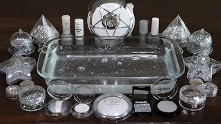 'Metallic silver' Mixing'Silver' Makeup,Eyeshadow and Silver ring,glitter Into Slime. ★ASMR★