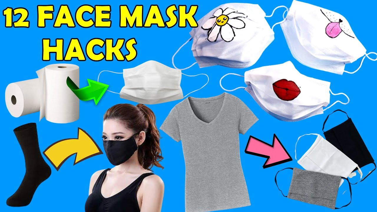 12 FACE MASK HACKS and CRAFTS - HOW TO MAKE FACE MASK AT HOME in QUARANTINE - PATTERNED FACE MASK..