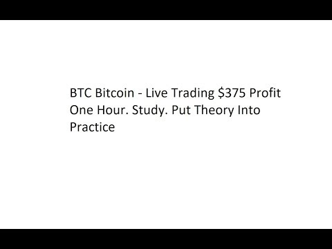 BTC Bitcoin - Live Trading $375 Profit One Hour. Study. Put Theory Into Practice