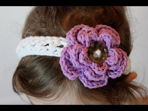 Crochet Cross Stitch Headband And Removable Flower All