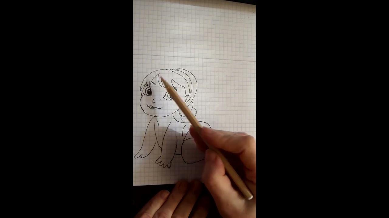Как нарисовать little Alsa маленькая Эльза Холодное сердце ...