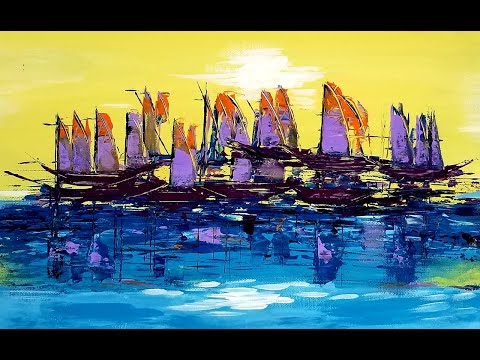 Cool Abstract Painting / Acrylic Painting - Art Therapy - Summer Sailing - Demo 15 of #115