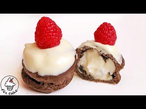Пирожное ПРОФИТРОЛИ с ЗАВАРНЫМ КРЕМОМ и шоколадом