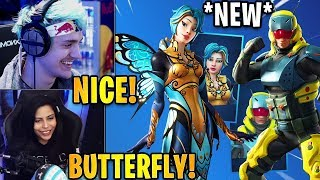 Streamers React to the *NEW* Flutter & Pillar Skins + Flycatcher Pickaxe! | Fortnite Highlights