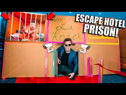 ESCAPE The 2 STORY Box Fort Hotel Prison (24 Hour Challenge)