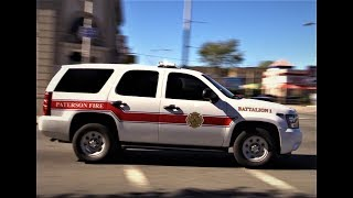 Paterson NJ Fire Department Battalion 1 Responding on Madison Ave at Broadway