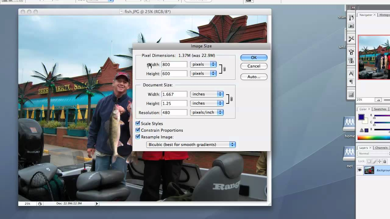 how to change sizeof a picture photoshop