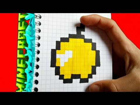 Как рисовать яблоко по клеточкам рисунки майнкрафт.How to draw apple on the pixel art mincraft.