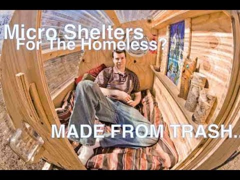 Homeless Huts and Micro Offices built from TRASH (tiny house/cabins)